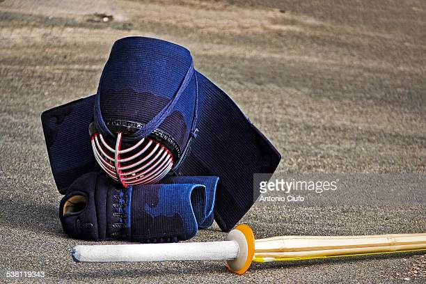 Kendo equipment: helmet and sword