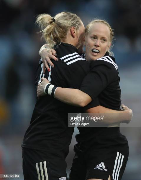 Kendra Cocksedge of New Zealand celebrates with team mate Kelly Brazierafter scoring their firts try during the International Test match between the...