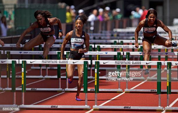 Kendra Harrison of the United States center leads the 100 meter hurdles race at Hayward Field on May 28 2016 in Eugene Oregon