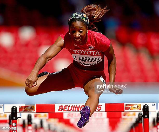 Kendra Harrison of the United States competes in the Women's 100 metres hurdles heats during day six of the 15th IAAF World Athletics Championships...