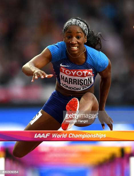 Kendra Harrison of the United States competes in the Women's 100 metres hurdles semi finals during day eight of the 16th IAAF World Athletics...