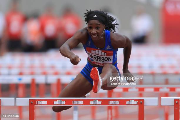 Kendra Harrison of the United States competes in the Womens 100m hurdles final during the Women's 100m hurdles final during the Muller Anniversary...