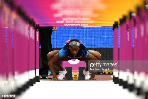Kendra Harrison of the United States prepares to compete in the Women's 100 metres hurdles semi finals during day eight of the 16th IAAF World...