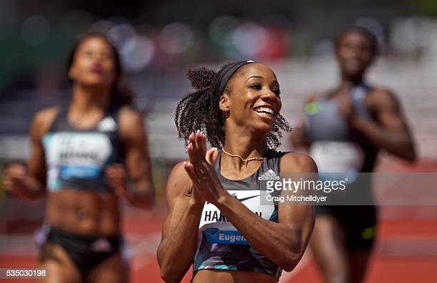 Kendra Harrison of the United States reacts after winning the 100 meter hurdles race at Hayward Field on May 28 2016 in Eugene Oregon