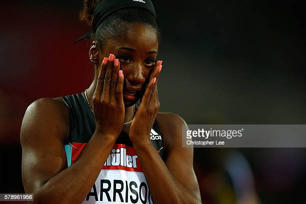 Kendra Harrison of The USA celebrates after setting a new world record in the womens 100m hurdles on Day One of the Muller Anniversary Games at The...