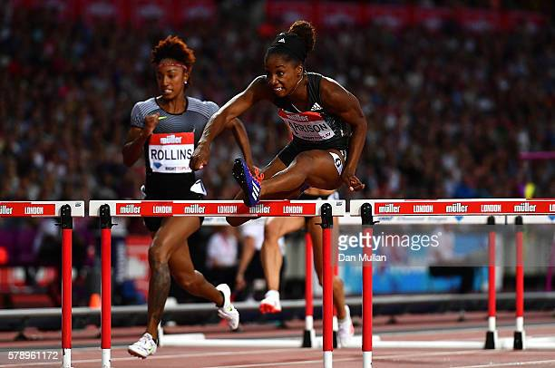 Kendra Harrison of The USA in action during the womens 100m hurdles on Day One of the Muller Anniversary Games at The Stadium Queen Elizabeth Olympic...