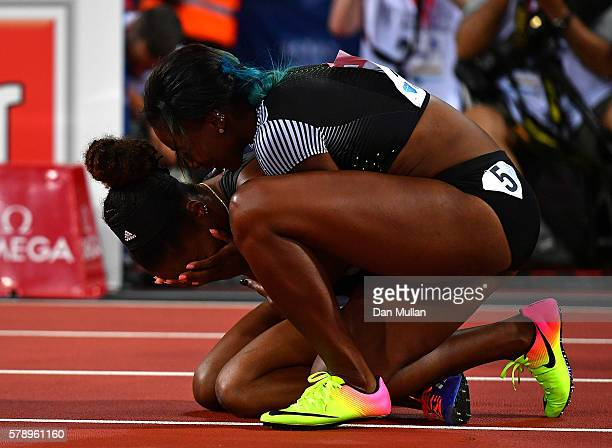 Kendra Harrison of The USA is congratulated by Nia Ali of The USA after setting a new world record in the womens 100m hurdles during Day One of the...