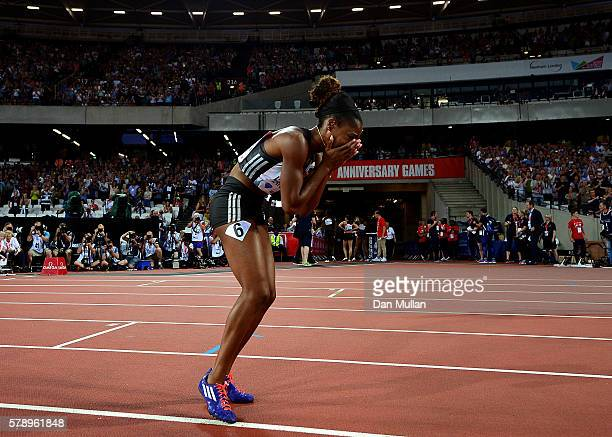 Kendra Harrison of The USA reacts after setting a new world record in the womens 100m hurdles during Day One of the Muller Anniversary Games at The...