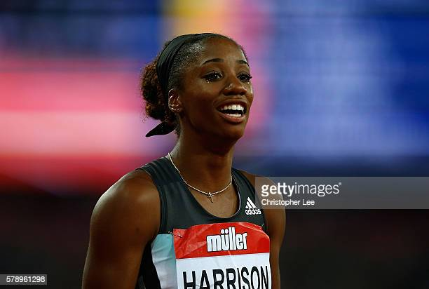 Kendra Harrison of The USA shows her emotion after setting a new world record in the womens 100m hurdles on Day One of the Muller Anniversary Games...