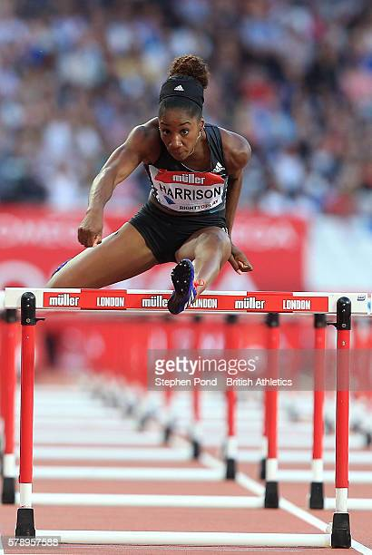 Kendra Harrison of USA in her heat of the womens' 100m hurdles during day one of the Muller Anniversary Games at The Stadium Queen Elizabeth Olympic...