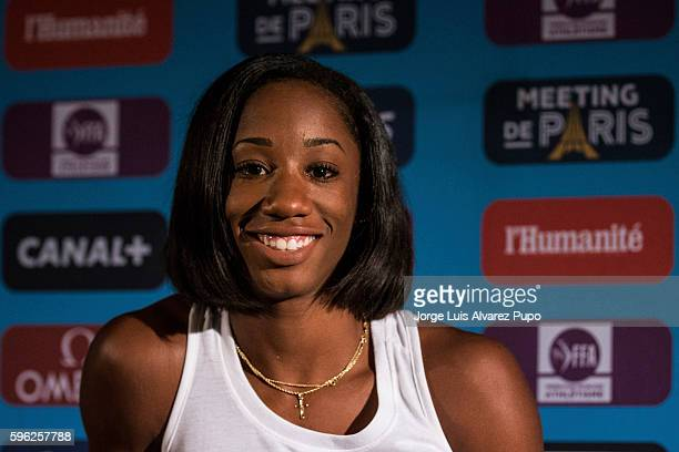Kendra Harrison of USA smiles during the press conference of the Meeting AREVA of the IAAF Diamond League 2016 at Mercure Hotel on August 26 2016 in...