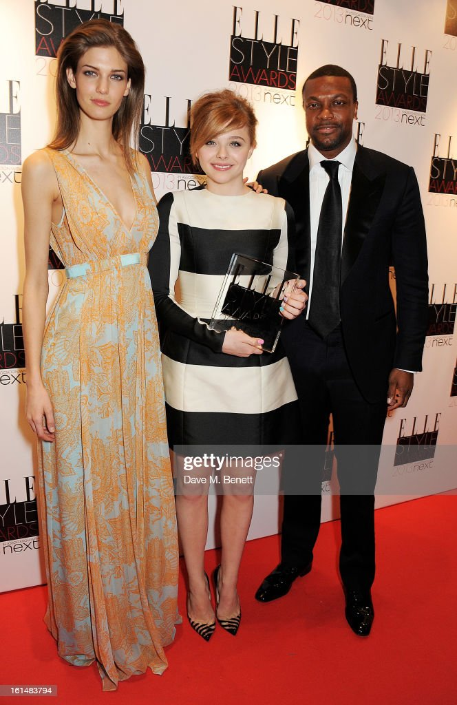 Kendra Spears, Next Future Icon winner Chloe Moretz and Chris Tucker pose in the press room at the Elle Style Awards at The Savoy Hotel on February 11, 2013 in London, England.