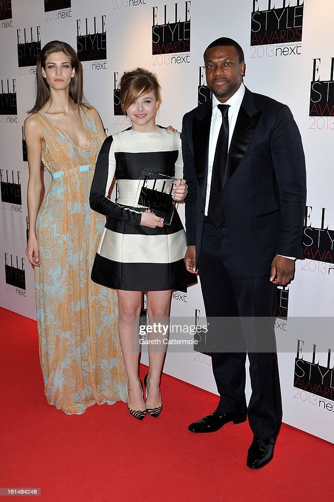Kendra Spears, Next Future Icon winner Chloe Moretz and <a gi-track='captionPersonalityLinkClicked' href=/galleries/search?phrase=Chris+Tucker&family=editorial&specificpeople=203254 ng-click='$event.stopPropagation()'>Chris Tucker</a> pose in the press room during the Elle Style Awards at The Savoy Hotel on February 11, 2013 in London, England.
