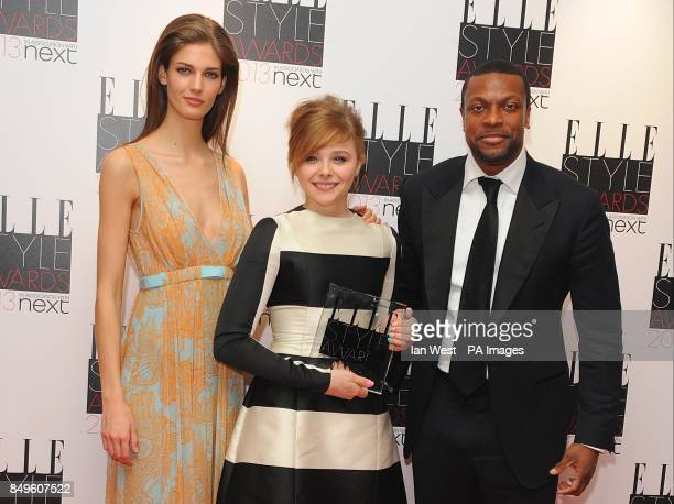 Kendra Spears with Next Future Icon Winner Chloe Moretz and Chris Tucker in the press room at the 2013 Elle Style Awards at The Savoy Hotel in...