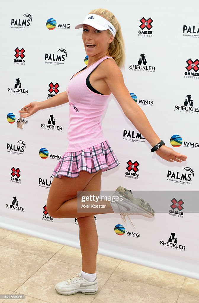 Kendra Wilkinson arrives at the X Games Celebrity Skins Classic golf tournament for charity at Trump National Golf Club in Rancho Palos Verdes