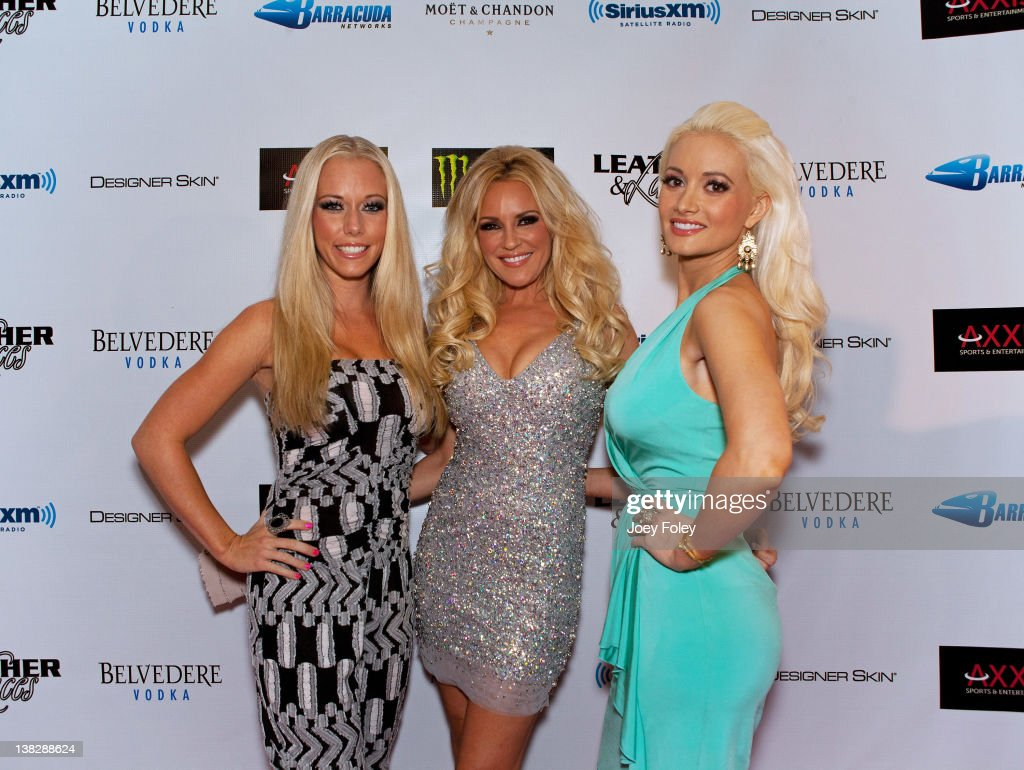 Kendra Wilkinson, Bridget Marquardt, and Holly Madison attend Leather & Laces at the Regions Bank Tower on February 4, 2012 in Indianapolis, Indiana.