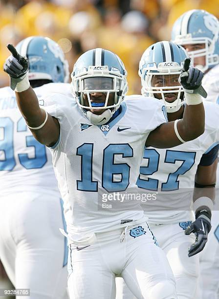 Kendric Burney of the North Carolina Tar Heels celebrates his touchdown in the first quarter against the Boston College Eagles on November 21 2009 at...