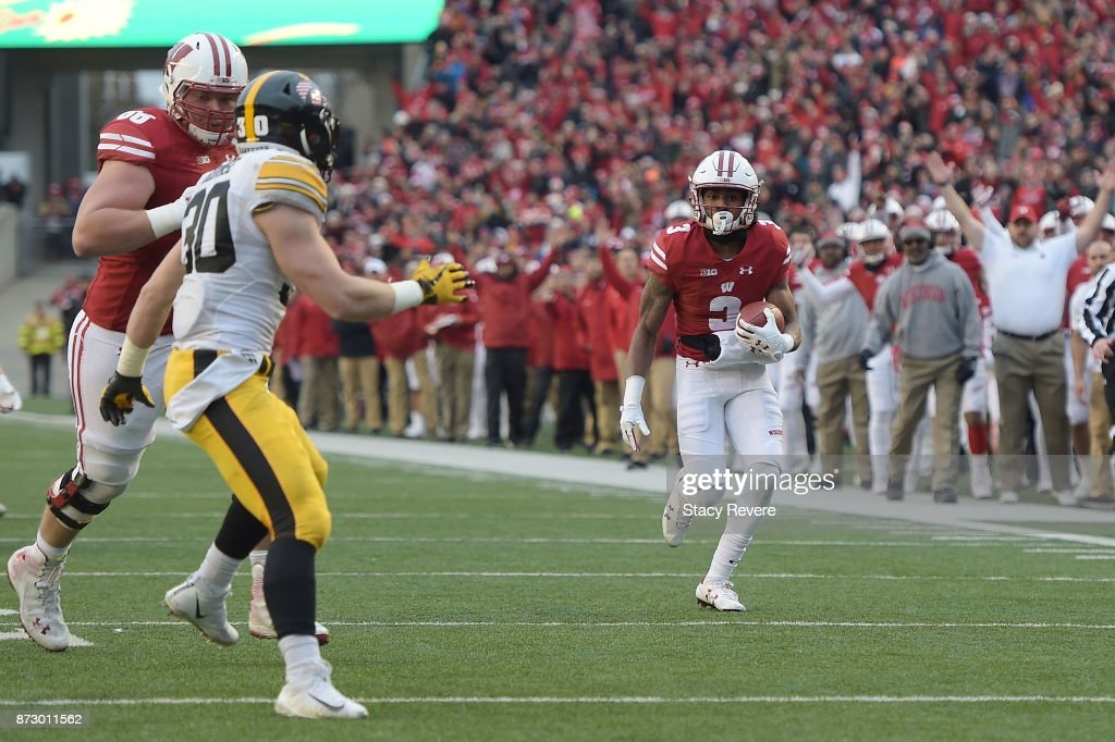 Kendric Pryor #3 of the Wisconsin Badgers rushes for a touchdown against the Iowa Hawkeyes during the second quarter of a game at Camp Randall Stadium on November 11, 2017 in Madison, Wisconsin.