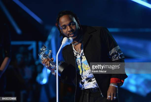 Kendrick Lamar accepts award during the 2017 MTV Video Music Awards at The Forum on August 27 2017 in Inglewood California