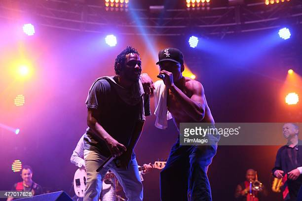 Kendrick Lamar and Chance the Rapper perform onstage at Which Stage during Day 2 of the 2015 Bonnaroo Music And Arts Festival on June 12 2015 in...