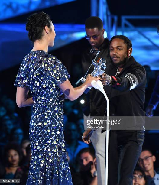 Kendrick Lamar and Dave Free accept the Video of the Year award for 'Humble' from Gal Gadot onstage during the 2017 MTV Video Music Awards at The...