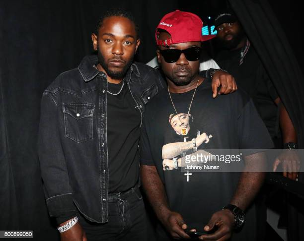 Kendrick Lamar and Havoc backstage at the 2017 BET Awards at Microsoft Theater on June 25 2017 in Los Angeles California