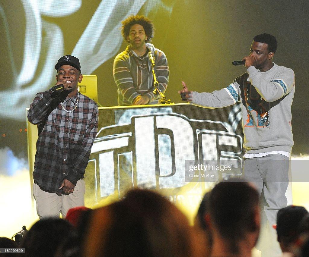 Kendrick Lamar and Jay Rock perform during the BET Hip Hop Awards 2013 at the Boisfeuillet Jones Atlanta Civic Center on September 28, 2013 in Atlanta, Georgia.