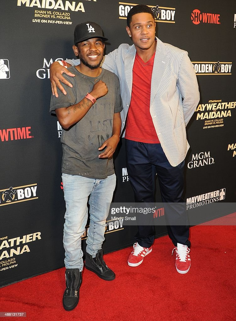 Kendrick Lamar and Pooch Hall attend the Mayweather Vs. Maidana Pre-Fight Party Presented By Showtime at MGM Garden Arena on May 3, 2014 in Las Vegas, Nevada.