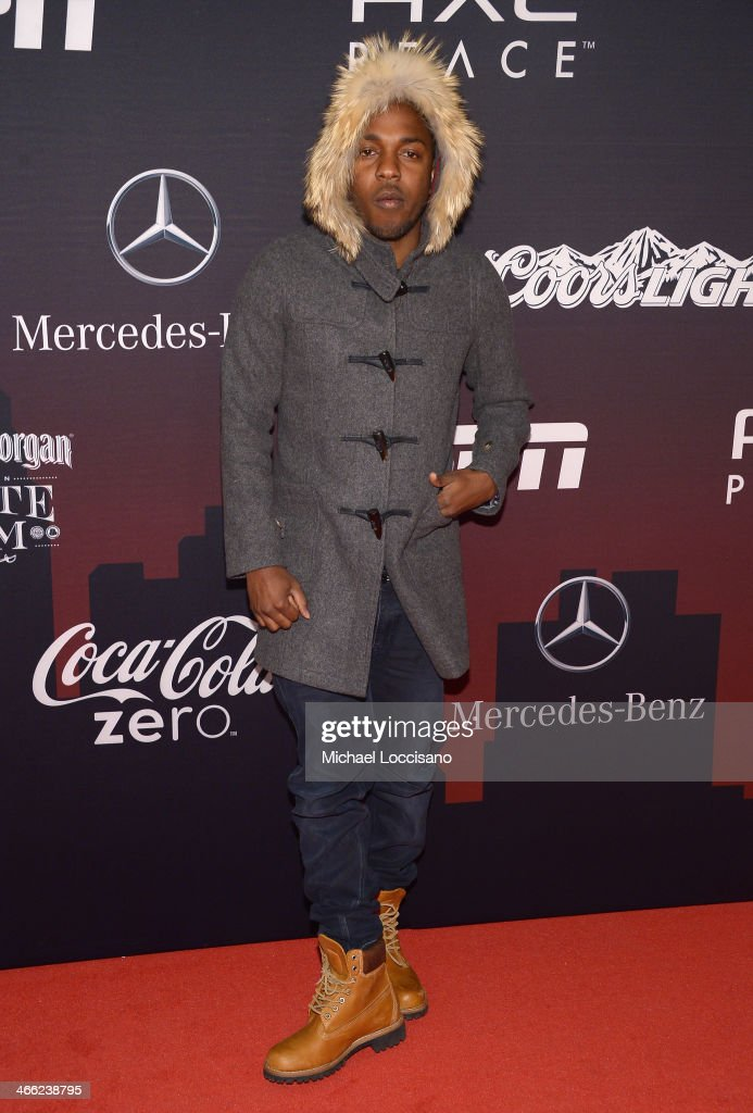 Kendrick Lamar attends the ESPN The Party at Basketball City Pier 36 South Street on January 31 2014 in New York City