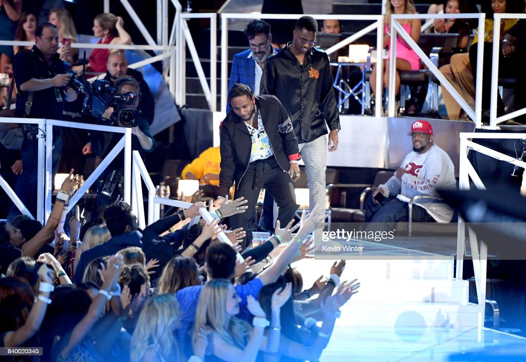 Kendrick Lamar, Dave Meyers and Dave Free accept the Video of the Year award for 'Humble' onstage during the 2017 MTV Video Music Awards at The Forum on August 27, 2017 in Inglewood, California.