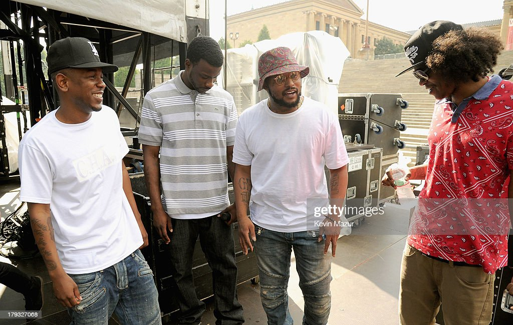 Kendrick Lamar, Jay Rock, Schoolboy Q and Ab-Soul backstage during the 2013 Budweiser Made In America Festival at Benjamin Franklin Parkway on September 1, 2013 in Philadelphia, Pennsylvania.