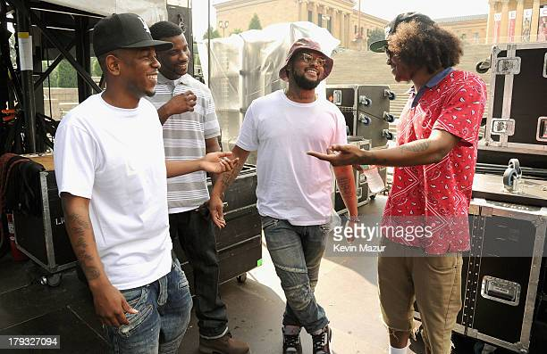 Kendrick Lamar Jay Rock Schoolboy Q and AbSoul backstage during the 2013 Budweiser Made In America Festival at Benjamin Franklin Parkway on September...