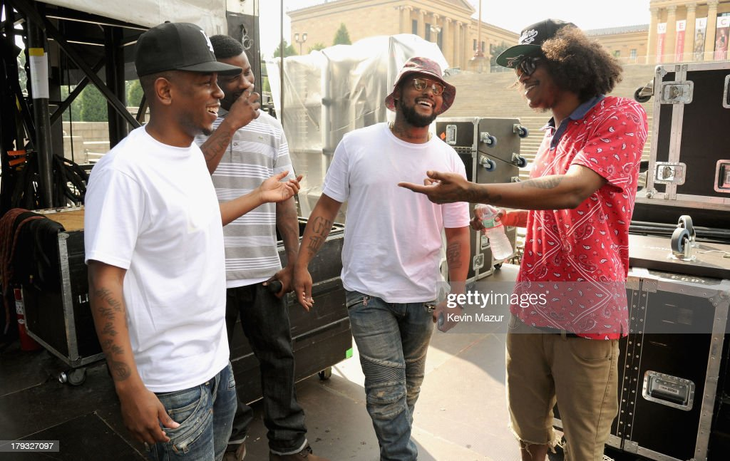 <a gi-track='captionPersonalityLinkClicked' href=/galleries/search?phrase=Kendrick+Lamar&family=editorial&specificpeople=8012417 ng-click='$event.stopPropagation()'>Kendrick Lamar</a>, <a gi-track='captionPersonalityLinkClicked' href=/galleries/search?phrase=Jay+Rock&family=editorial&specificpeople=2148131 ng-click='$event.stopPropagation()'>Jay Rock</a>, <a gi-track='captionPersonalityLinkClicked' href=/galleries/search?phrase=Schoolboy+Q&family=editorial&specificpeople=9028279 ng-click='$event.stopPropagation()'>Schoolboy Q</a> and Ab-Soul backstage during the 2013 Budweiser Made In America Festival at Benjamin Franklin Parkway on September 1, 2013 in Philadelphia, Pennsylvania.