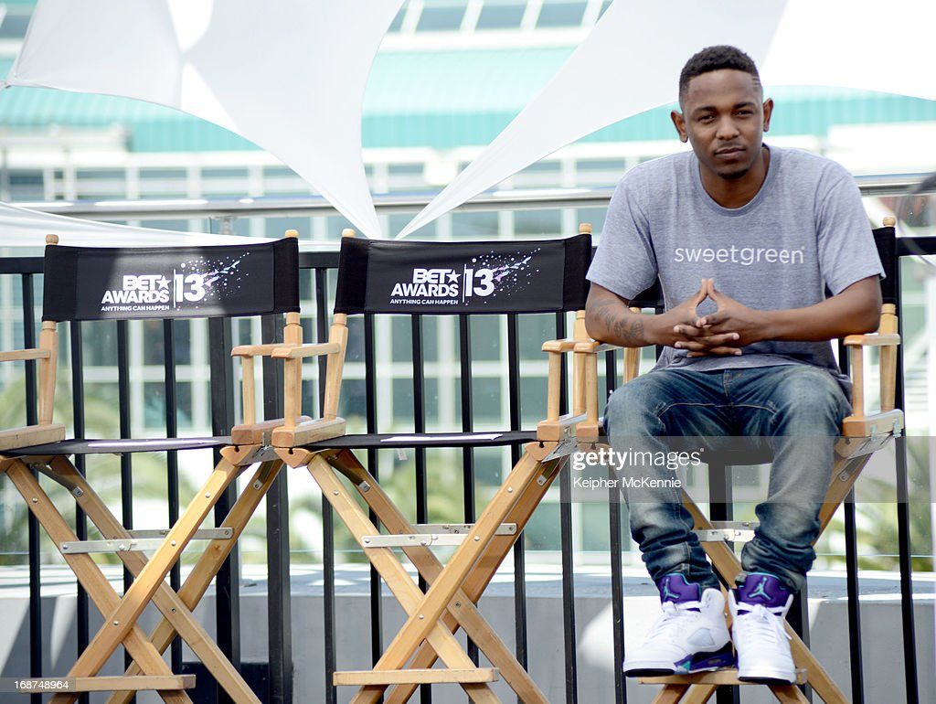 Kendrick Lamar on stage at the 2013 BET Awards press conference at Icon Ultra Lounge on May 14, 2013 in Los Angeles, California.