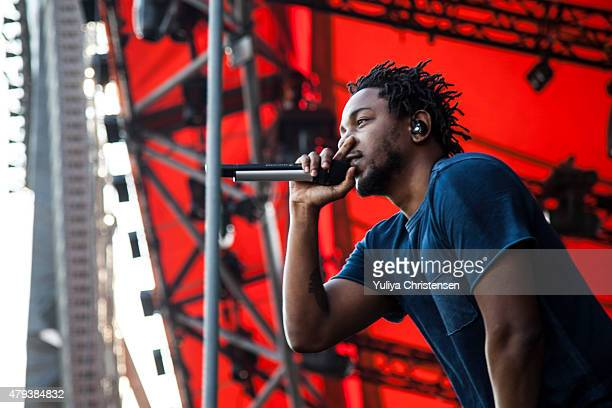 Kendrick Lamar performs at Roskilde Festival on July 3 2015 in Roskilde Denmark