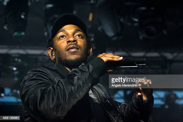 Kendrick Lamar performs during the Cleveland Cavaliers Turner Sports Home Opener Fan Fest on October 30 2014 in Cleveland Ohio