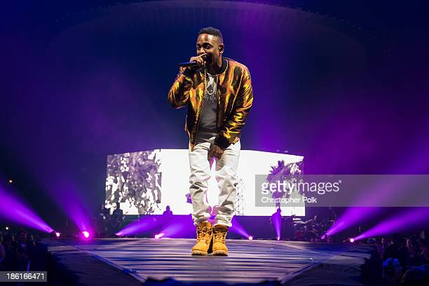Kendrick Lamar performs on stage at STAPLES Center on October 28 2013 in Los Angeles California