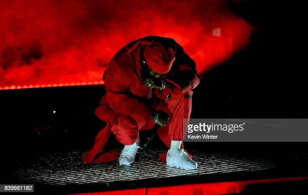 Kendrick Lamar performs onstage during the 2017 MTV Video Music Awards at The Forum on August 27 2017 in Inglewood California