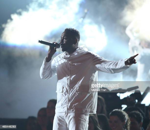 Kendrick Lamar performs onstage during the 56th GRAMMY Awards held at Staples Center on January 26 2014 in Los Angeles California