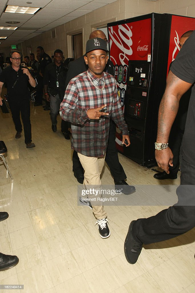 <a gi-track='captionPersonalityLinkClicked' href=/galleries/search?phrase=Kendrick+Lamar&family=editorial&specificpeople=8012417 ng-click='$event.stopPropagation()'>Kendrick Lamar</a> poses backstage at the BET Hip Hop Awards 2013 at Boisfeuillet Jones Atlanta Civic Center on September 28, 2013 in Atlanta, Georgia.