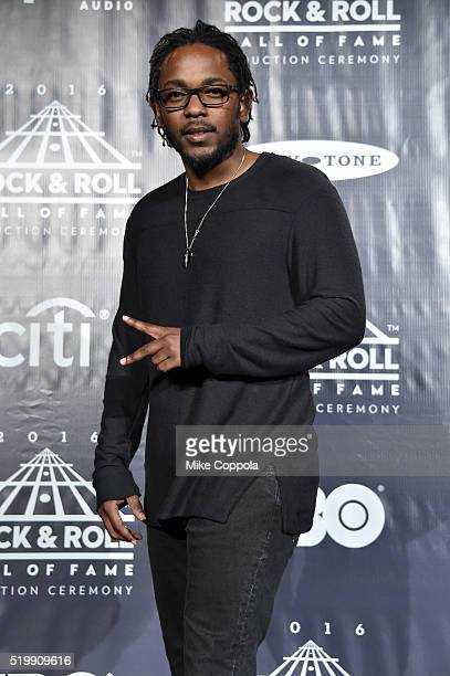 Kendrick Lamar poses in the press room at the 31st Annual Rock And Roll Hall Of Fame Induction Ceremony at Barclays Center on April 8 2016 in New...