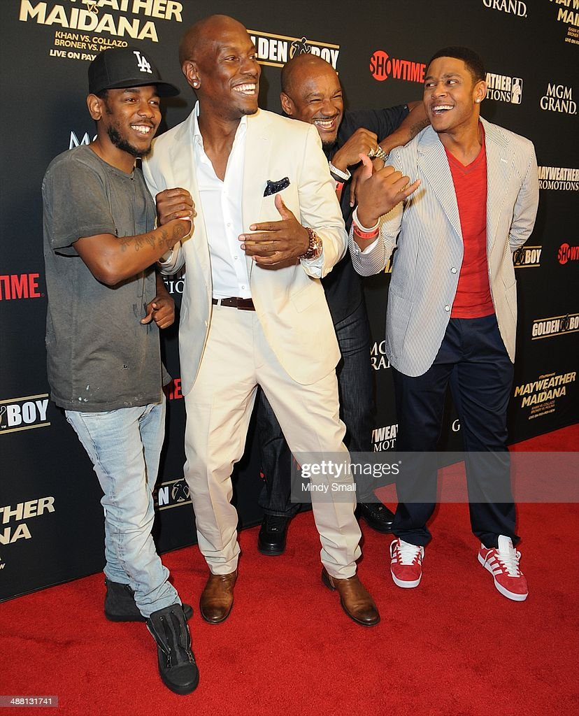 Kendrick Lamar, Tyrese, Big Tigger and Pooch Hall attend the Mayweather Vs. Maidana Pre-Fight Party Presented By Showtime at MGM Garden Arena on May 3, 2014 in Las Vegas, Nevada.