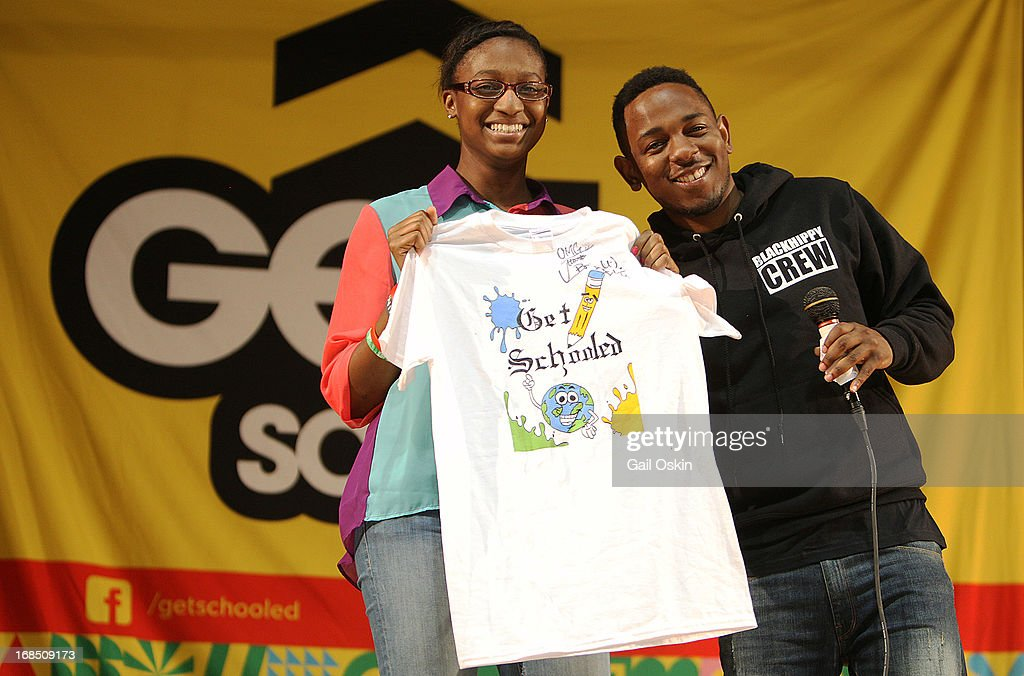 <a gi-track='captionPersonalityLinkClicked' href=/galleries/search?phrase=Kendrick+Lamar&family=editorial&specificpeople=8012417 ng-click='$event.stopPropagation()'>Kendrick Lamar</a> visits Providence, Rhode Island students with the Get Schooled victory tour at the Mt. Pleasant High School on May 10, 2013 in Providence, Rhode Island.