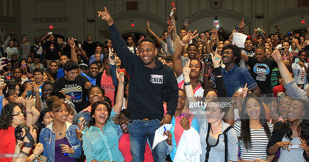 <a gi-track='captionPersonalityLinkClicked' href=/galleries/search?phrase=Kendrick+Lamar&family=editorial&specificpeople=8012417 ng-click='$event.stopPropagation()'>Kendrick Lamar</a> visits Providence students with the Get Schooled victory tour at the Mt. Pleasant High School on May 10, 2013 in Providence, Rhode Island.