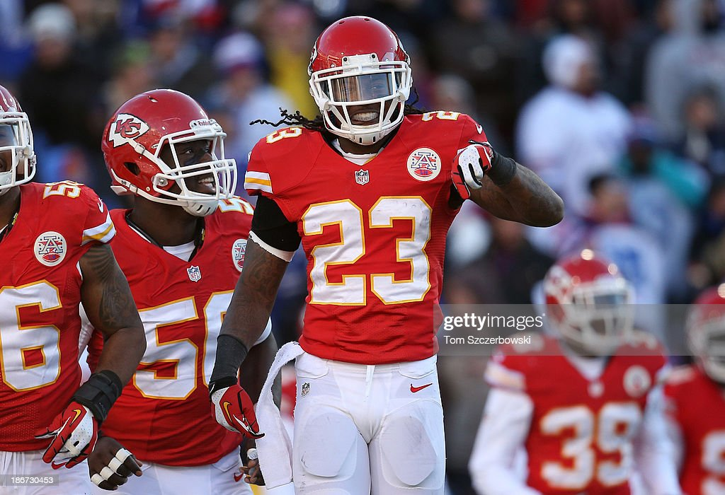 <a gi-track='captionPersonalityLinkClicked' href=/galleries/search?phrase=Kendrick+Lewis&family=editorial&specificpeople=4501037 ng-click='$event.stopPropagation()'>Kendrick Lewis</a> #23 of the Kansas City Chiefs reacts after defending against an incomplete pass by the Buffalo Bills during NFL game action at Ralph Wilson Stadium on November 3, 2013 in Orchard Park, New York.