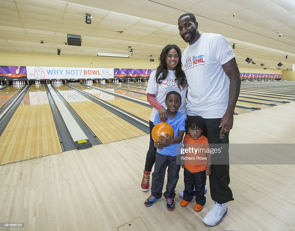 Kendrick Perkins #5 and family joins Russell Westbrook #0 of the Oklahoma City Thunder at his annual Why Not Foundation fundraiser to benefit the Boys and Girls Club at AMC Boulevard Bowl in Edmond, Oklahoma.