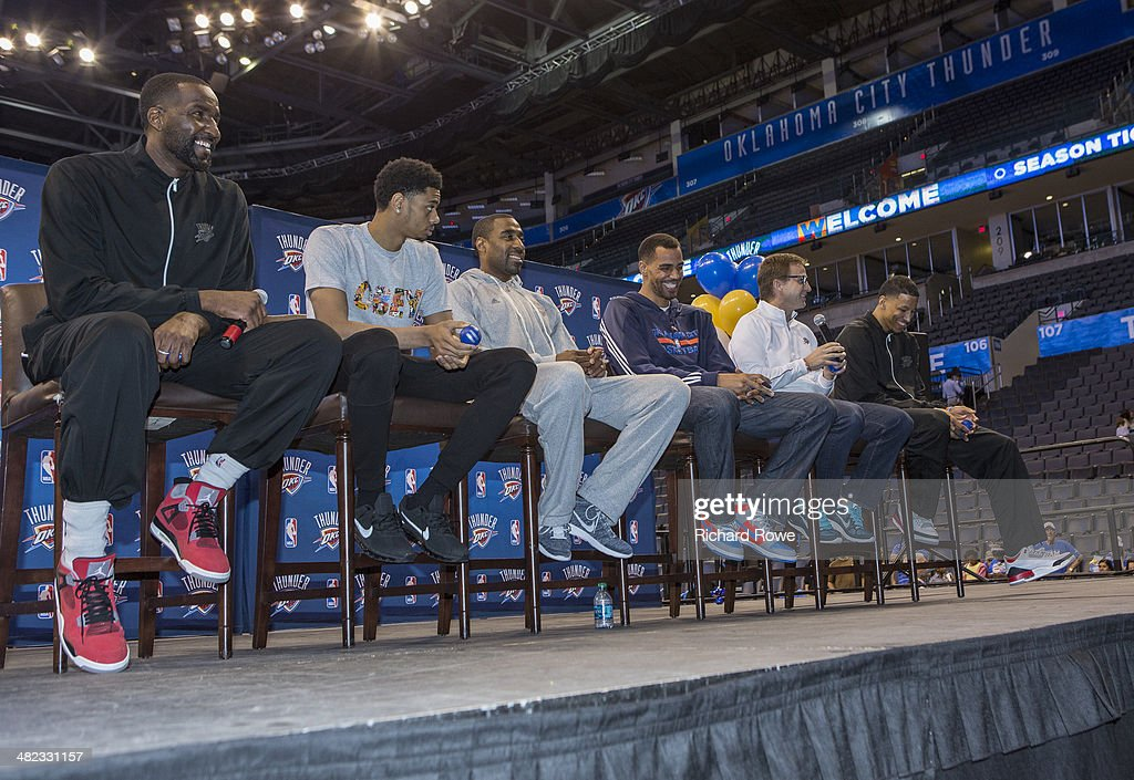 Kendrick Perkins #5, Jeremy Lamb #11, Reggie Williams #14, Thabo Sefolosha #25, Scott Brooks head coach, and Andre Roberson #21 of the Oklahoma City Thunder during the annual season ticket holder event at the Chesapeake Arena on March 30, 2014 in Oklahoma City, Oklahoma.