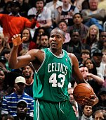Kendrick Perkins of the Boston Celtics against the Atlanta Hawks at Philips Arena on January 29 2010 in Atlanta Georgia NOTE TO USER User expressly...