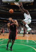 Kendrick Perkins of the Boston Celtics dunks the ball during the game against the Toronto Raptors on January 2 2010 at the TD Garden in Boston...