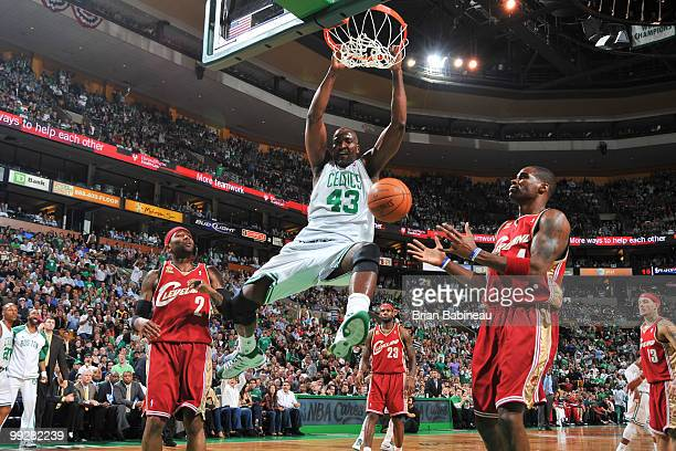 Kendrick Perkins of the Boston Celtics dunks the ball during the game against the Cleveland Cavaliers in Game Six of the Eastern Conference...